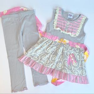 Ann Loren 2-Piece Pink Gray Boutique Outfit NWOT
